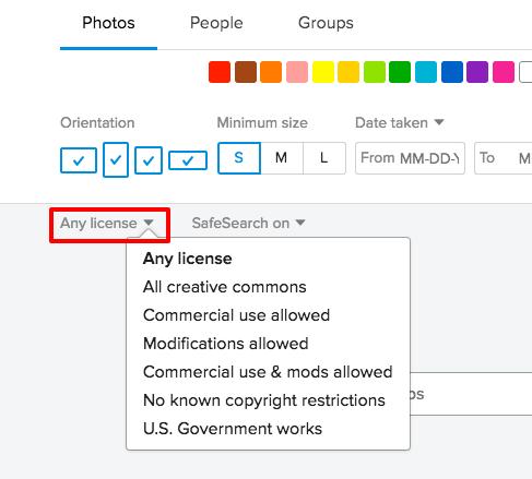Flickr の商用利用可のライセンス素材を探す