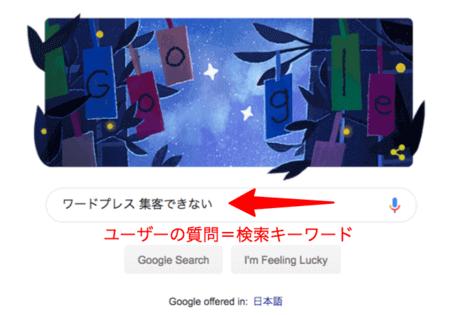 Googleに投函される検索ユーザーからの質問を「検索キーワード」と呼ぶ