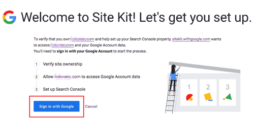Site kit Googleにサインインする