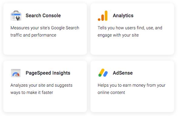 Google サイトキットで見られるツール
