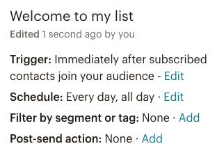 Mailchimp ステップメールのメールごとの条件設定