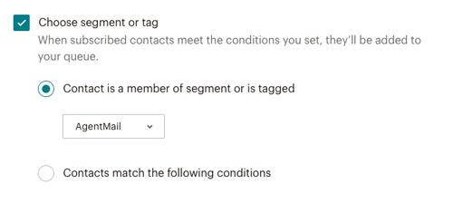 MailChimp タグまたはセグメントで条件を設定