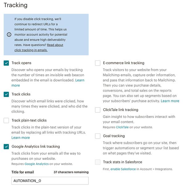 MailChimpステップメールの設定 Tracking